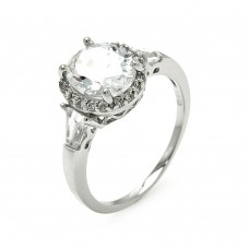 Sterling Silver Rhodium Plated Clear Cluster CZ Round Bridal Ring bgr00573