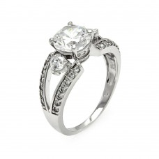 Sterling Silver Rhodium Plated Clear CZ Open Round Bridal Ring bgr00574
