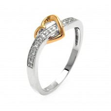 Wholesale Sterling Silver 925 Rhodium and Gold Plated 2 Toned Clear Pave Set CZ Heart Ring - BGR00577