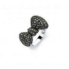 Sterling Silver Rhodium and Black Rhodium Plated 2 Toned Black Micro Pave Set CZ Bow Ring - BGR00579