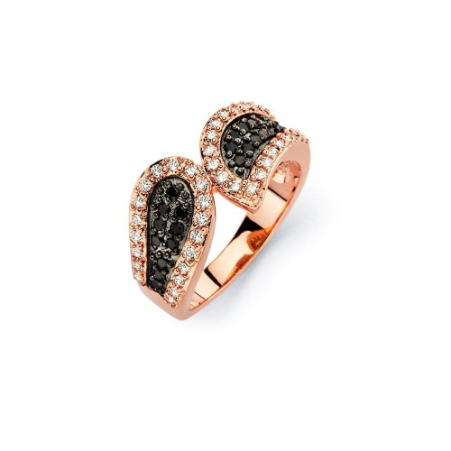 -Closeout- Wholesale Sterling Silver 925 Black Rhodium and Rose Gold Plated 2 Toned Black and Clear CZ Modern Ring - BGR00581