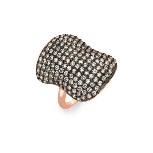 -Closeout- Wholesale Sterling Silver 925 Black Rhodium and Rose Gold Plated 2 Toned Clear Micro Pave Set CZ Ring - BGR00582
