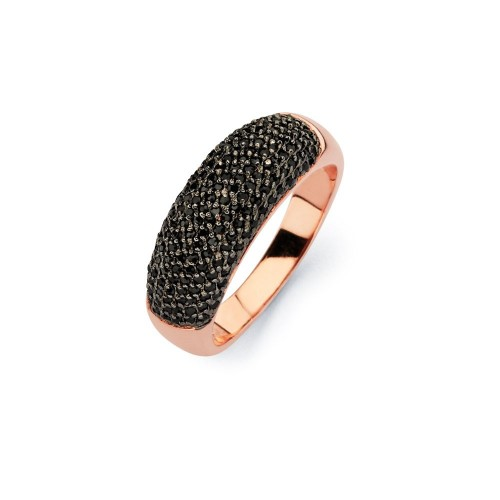-Closeout- Wholesale Sterling Silver 925 Black Rhodium and Rose Gold Plated Black Micro Pave Set CZ Half Ring - BGR00583