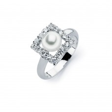 Sterling Silver Rhodium Plated Fresh Water Pearl Center Clear Square CZ Ring - BGR00584