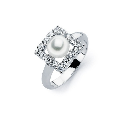 Wholesale Sterling Silver 925 Rhodium Plated Fresh Water Pearl Center Clear Square CZ Ring - BGR00584