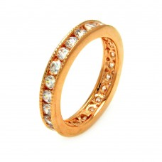 Wholesale Sterling Silver 925 Rose Gold Plated Clear Channel Set CZ Stackable Eternity Ring - BGR00585