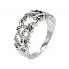 Sterling Silver Rhodium Plated Clear & Pink CZ Multi Heart Ring bgr00587