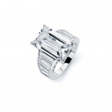 Sterling Silver Rhodium Plated Clear Baguette CZ Rectangular Bridal Ring bgr00592