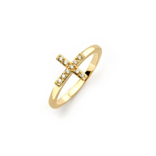 Wholesale Sterling Silver 925 Gold Plated Clear CZ Mini Cross Ring - BGR00614GP