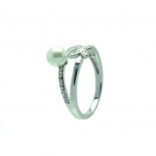 Sterling Silver Rhodium Plated Clear CZ Synthetic Pearl Flower Ring - BGR00617