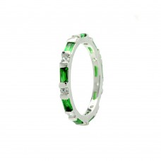 Wholesale Sterling Silver 925 Rhodium Plated Green CZ Stackable Eternity Ring - BGR00622