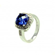 Sterling Silver Rhodium Plated Blue Center Square & Clear Cluster CZ Ring bgr00625