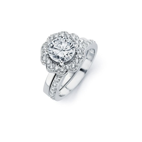 Wholesale Sterling Silver 925 Rhodium Plated Clear CZ Flower Engagement Ring Set - BGR00715