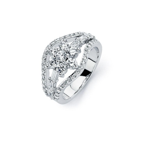 Wholesale Sterling Silver 925 Rhodium Plated Clear CZ Flower Ring - BGR00721