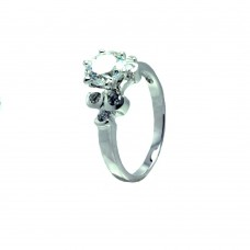Sterling Silver Rhodium Plated Clear CZ Bubble Sides Bridal Ring bgr00722