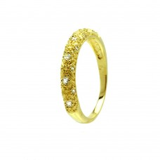 Sterling Silver Gold Plated Clear CZ Gilded Ring - BGR00725