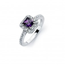 Sterling Silver Rhodium Plated Clear Micro Pave Set and Square Purple Center CZ Bridal Ring - BGR00734