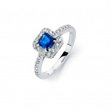 Sterling Silver Rhodium Plated Clear Micro Pave Set and Square Blue Center CZ Bridal Ring - BGR00735