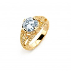 Sterling Silver Gold Plated Clear Center CZ Bridal Ring - BGR00740