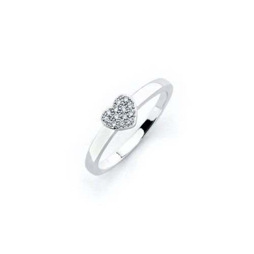 Wholesale Sterling Silver 925 Rhodium Plated Clear Micro Pave Set CZ Heart Ring - BGR00744