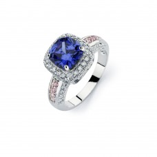 Sterling Silver Rhodium Plated Blue Square Center & Clear Cluster CZ Bridal Ring bgr00746