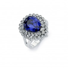 Sterling Silver Rhodium Plated Blue Pear Center & Clear Round Cluster CZ Ring bgr00747