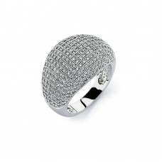 Wholesale Sterling Silver 925 Rhodium Plated Clear Micro Pave Set CZ Cigar Band Ring - BGR00756C