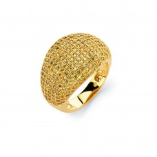 Sterling Silver Gold Plated Clear Micro Pave Set CZ Cigar Band Ring - BGR00756GP