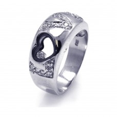 **Closeout** Sterling Silver Rhodium And Black Rhodium Plated Heart Outline CZ Love Ring - STR00016