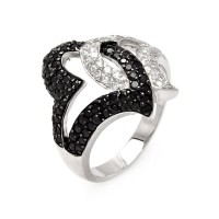 **Closeout** Wholesale Sterling Silver 925 Rhodium and Black Rhodium Plated Intertwined Black and Clear CZ Heart Ring - STR00025