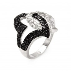 **Closeout** Sterling Silver Rhodium And Black Rhodium Plated Intertwined Black And Clear CZ Heart Ring - STR00025