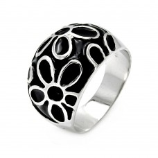 **Closeout** Sterling Silver Rhodium Plated Black Enamel Flower Ring - STR00042
