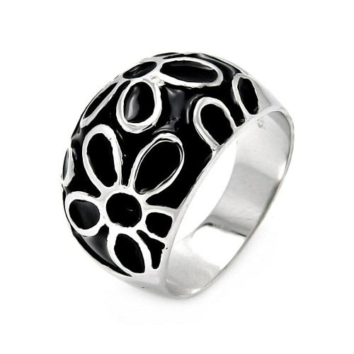 -Closeout- Wholesale Sterling Silver 925 Rhodium Plated Black Enamel Flower Ring - STR00042