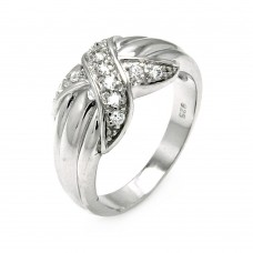 **Closeout** Wholesale Sterling Silver 925 Rhodium Plated X CZ Ring - STR00043