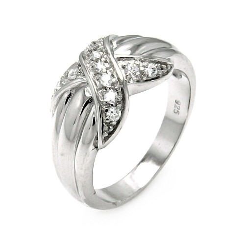 -Closeout- Wholesale Sterling Silver 925 Rhodium Plated X CZ Ring - STR00043