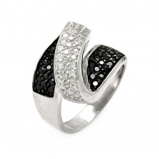 **Closeout** Sterling Silver Rhodium and Black Rhodium Plated Clear and Black CZ Zigzag Ring - STR00045