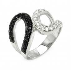 **Closeout** Sterling Silver Rhodium and Black Rhodium Plated Clear and Black CZ Ring - STR00046