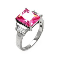 Wholesale Sterling Silver 925 Rhodium Plated Pink Princess Cut CZ Ring - STR00047PNK