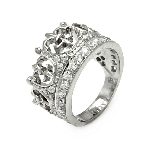 Wholesale Sterling Silver 925 Rhodium Plated CZ Crown Ring - STR00063