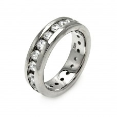 Sterling Silver Rhodium Plated Channel Set CZ Stackable Eternity Ring str00068