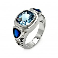 **Closeout** Wholesale Sterling Silver 925 Rhodium Plated Square Blue Cushion Cut Triangular CZ Ring - STR00082BLU