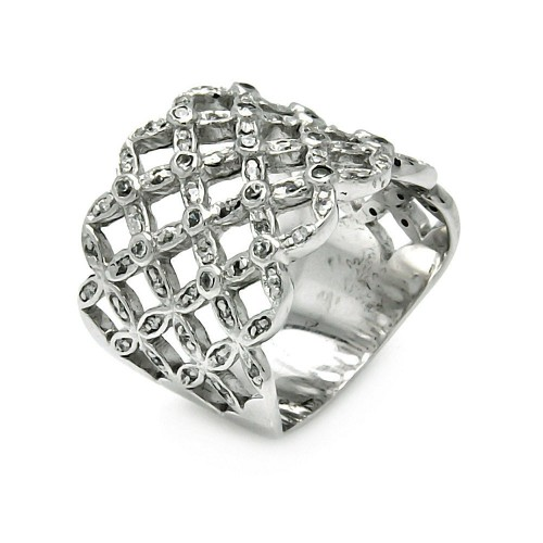 -Closeout- Wholesale Sterling Silver 925 Rhodium Plated CZ Multi Flower Ring - STR00098
