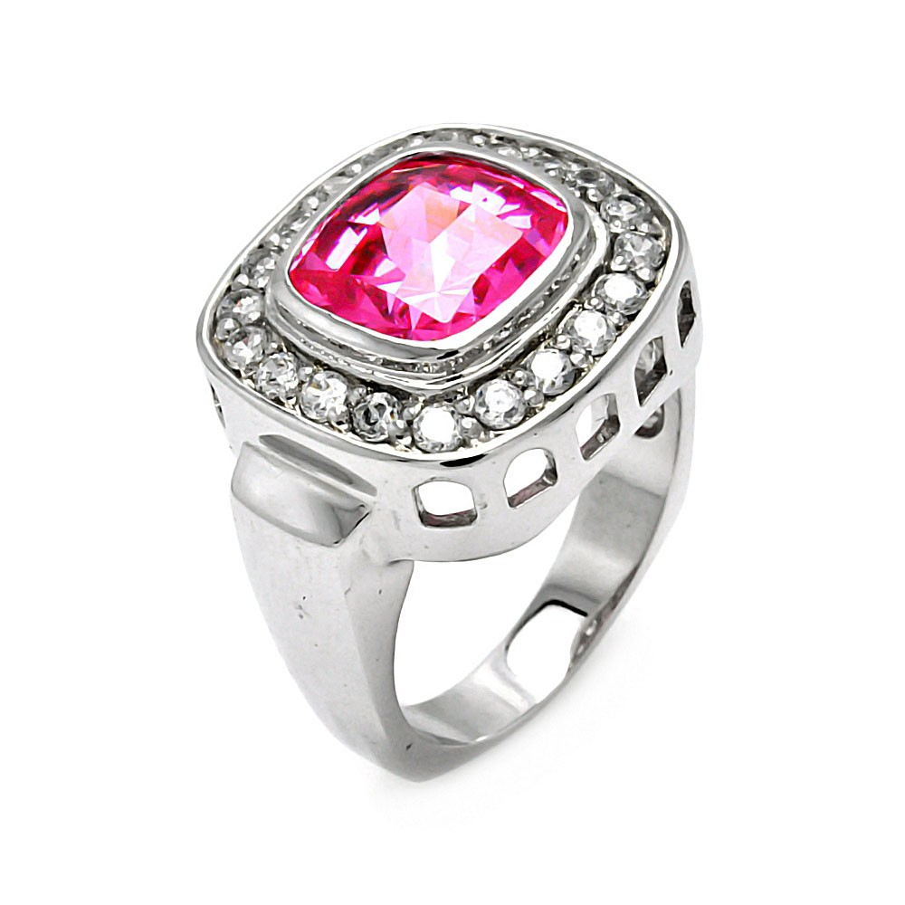 -Closeout- Wholesale Sterling Silver 925 Rhodium Plated Pink Square CZ Ring - STR00101