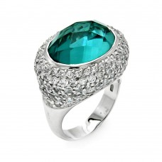 **Closeout** Wholesale Sterling Silver 925 Rhodium Plated Teal CZ Ring - STR00109BLU