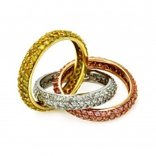 Sterling Silver Tri Color Stackable Ring with CZ - STR00114