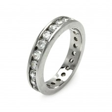 Wholesale Sterling Silver 925 Rhodium Plated Channel Set CZ Stackable Eternity Ring - STR00123