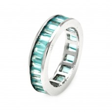 Wholesale Sterling Silver 925 Rhodium Plated Channel Set Aqua Blue Baguette CZ Stackable Eternity Ring - STR00124BLU
