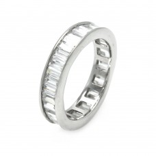 Sterling Silver Rhodium Plated Channel Set Baguette CZ Stackable Eternity Ring str00124clr