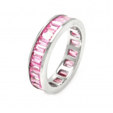 Wholesale Sterling Silver 925 Rhodium Plated Channel Set Pink Baguette CZ Stackable Eternity Ring - STR00124PNK