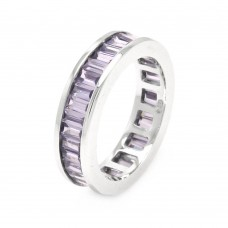 Wholesale Sterling Silver 925 Rhodium Plated Channel Set Purple Baguette CZ Eternity Ring - STR00124AMY